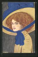Künstler-AK Sign. H. Rewald: Junge Frau Mit Rotem Haar Und Grossem Hut - Illustrators & Photographers