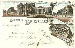 Bruxelles (Belgio) Vues: Bourse, Palais Nation, Palais Academies, Theatre, Riproduzione D15, Reproduction, Illustrazione - Monumenti, Edifici
