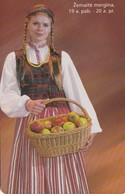 LITUANIA. CHIP. TRAJES REGIONALES. A Girl From Zemaitija. LT-LTV-C045. (065). - Lituania
