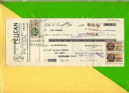 RECU OU QUITTANCE : Brasserie PELICAN LILLE   Timbre Quittance  1933 - Bank & Versicherung