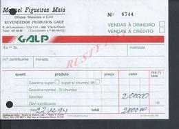 PORTUGAL FACTURE DE 1994 MIGUEL FIGUEIRAS MAIA REVENDOR PRODUTOS GALP A VILA CHA VILA DO CONDE : - Portugal