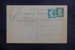 FRANCE - Entier Postal Type Pasteur + Complément Semeuse, Non Circulé - L 39029 - Postal Stamped Stationery