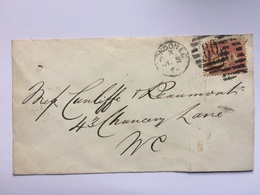 GB Victoria Cover 1864 London Internal Tied With Penny Red - 1840-1901 (Victoria)