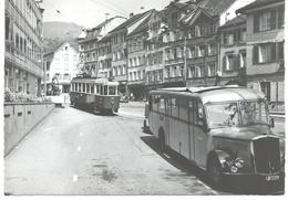 Altstätten SG Rathausplatz Tram Tramway Strassenbahn Trolley Postbus  60er - SG St. Gall