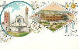Verona (Veneto) Saluti Da Verona, Arena E Chiesa San Zeno, Riproduzione D21, Reproduction, Illustrazione - Verona