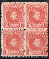 Bloque De 4 Sellos  10 Cts Alfonso XIII Cadete, Edifil Num 243 **/* - Nuevos