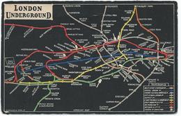London Underground Map Postcard Subway Metro U-Bahn Plan Reseau Netkaart Linienplan Netzplan 1908 - Autres