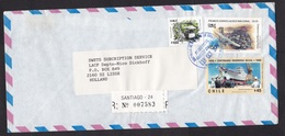 Chile: Registered Cover To Netherlands, 1989, 3 Stamps, Airplane, Ship, Train, Transport, Rare Real Use (traces Of Use) - Chili