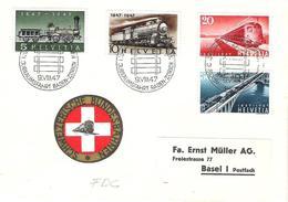 Schweiz Suisse 1947: Zu 277-280 Mi 484-487 Yv 441-444 FDC O JUBILÄUMSFAHRT ZÜRICH BADEN 9.VIII.47 (Zu CHF 48.00) - Trains