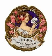 "Etiquette ""Gaufrée"" HEDDEN And EBERHARDT New York - INDRA, Jeune Fille Avec Fleurs - Etiketten"