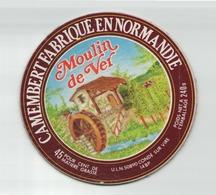 ETIQUETTE FROMAGE CAMEMBERT FABRIQUE EN NORMANDIE MOULIN DE VER - Cheese