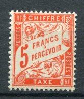 14230 FRANCE  Taxe 66 **  5F Rouge-orange  Type Duval De 1881-92       1941   TB/TTB - Taxes