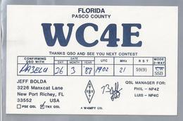 US.- QSL KAART. CARD. WC4E. JEFF BOLDA, NEW PORT RICHEY, FLORIDA. PASCO COUNTY. U.S.A. - Radio-amateur