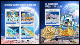 NIGER 2019 - Apollo 11, M/S + S/S. Official Issue [NIG190318] - Space
