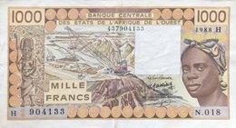 West African States 1.000 Francs, P-607H (1988) - EF/XF - Niger - Westafrikanischer Staaten
