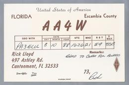US.- QSL KAART. CARD. AA4W. RICK LLOYD, CANTONMENT, FLORIDA. ESCAMBIA COUNTY. U.S.A. - Radio-amateur