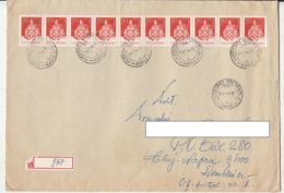 FOLKLORE ART, FLASK, STAMPS ON REGISTERED COVER, 1988, ROMANIA - Cartas