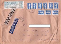 MARIANNE, AMOUNT 11.1, BAGNOLET, BLACK MACHINE STAMPS ON REGISTERED COVER, 1994, FRANCE - Storia Postale