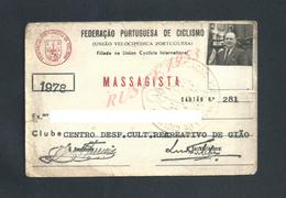 PORTUGAL CARTE  FEDERACAO PORTUGUESA DE CICLISME CICLISME VELO MASSAGISTE ( KINÉ ) 1978 CENTRO DESPORTIFE DE GIAO : : - Cartes