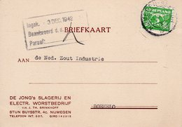 1 XII 1942  Bk Met Firmalogo Van Nijmegen-Station Naar Boekelo - Poststempels/ Marcofilie