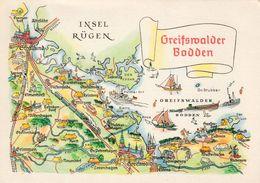 1 Map Of Germany * 1 Ansichtskarte Mit Der Landkarte Vom Greifswalder Bodden * - Landkarten