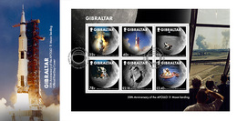 Gibraltar  2019   50jr Maanlanding  Moonlanding  Blok-m/s    FDC      Postfris/mnh - Gibraltar