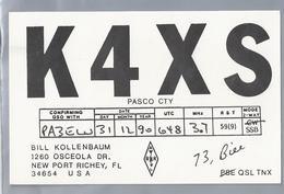 US.- QSL KAART. CARD. K4XS. BILL KOLLENBAUM, NEW PORT RICHEY, FLORIDA. PASCO COUNTY. U.S.A. - Radio-amateur