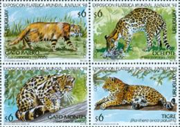 URUGUAY 1998 - Félins - Juvalux 98 - 4 V. - Uruguay