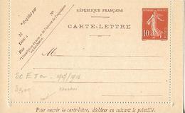 Timbre Entier Postal  TYPESemeuse 10 C Sur Carte Lettre Neuve DATE =015 EN ROUGE Non Oblitéré - 1900-29 Blanc