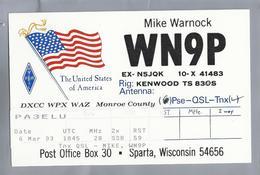 US.- QSL KAART. CARD.  WN9P. MIKE WARNOCK, SPARTA, WISCONSIN. MONROE COUNTY. U.S.A. ARRL. - Radio-amateur