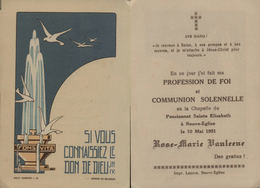 Souvenir De Communion VANLEENE Rose-Marie - 10 Mai 1951 -Pensionnat Sainte Elisabeth Neuve-Eglise - Communion