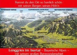 1 Map Of Germany * 1 Ansichtskarte Mit Der Landkarte Von Lenggries Im Isartal Und Umgebung * - Landkarten