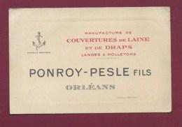 130819A - 45 ORLEANS Carte De Visite MANUFACTURE DE COUVERTURES DE LAINE ET DE DRAPS Lange Moleton PONROY PESLE Fils - Orleans