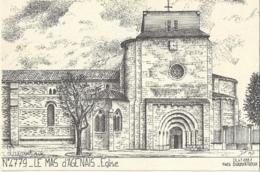 D47 - LA MAS D'AGENAIS - EGLISE - ILLUSTRATION YVES DUCOURTIOUX - France
