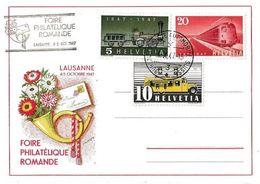 Schweiz Suisse 1947: Zu 276/7/9 Mi 311II+480/2 Yv 437 FOIRE PHILATELIQUE ROMANDE LAUSANNE 4.X.47 BUREAU POSTE AUTOMOBILE - Expositions Philatéliques