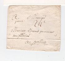 Sur Enveloppe Pour Poitiers Avec Cachet De Cire Marque Linéaire Luçon Vendée. Taxe Manuscrite 24 C. (2471x) - Marcophilie (Lettres)