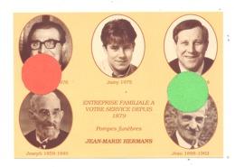 Photo Publicitaire (grandeur CP ) Des Pompes Funèbres Jean-Marie HERMANS - Vivegnis, Oupeye Et Houtain 1992 (b257) - Publicités