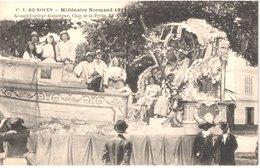FR76 ROUEN - Millénaire Normard - 1911 - Char De La Pêche - La Reine - Animée - Belle - Carnaval