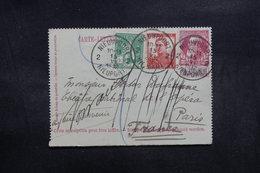 BELGIQUE - Entier Postal + Compléments De Nieuport Pour Paris En 1912 - L 39100 - Letter-Cards
