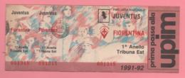 Biglietto D'ingresso Stadio Juventus Fiorentina 1991-92 - Eintrittskarten