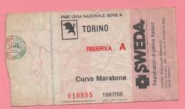 Biglietto D'ingresso Stadio Torino Riserva A 1987-88 - Toegangskaarten