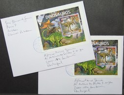 Guine-Bissau - Cover Lot (2) To Portugal Proof Dinosaur Perforate & Imperforate - Francobolli