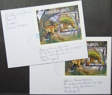 Guine-Bissau - Cover Lot (2) To Portugal Dinosaur Proof Perforate & Imperforate - Francobolli