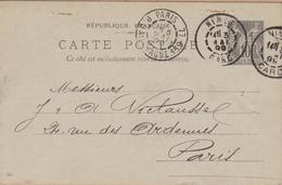 CARTE ENTIER  TYPE SAGE 10 C NOIR  1899 NIMES A PARIS 77 RUE D'ALLEMAGNE - Entiers Postaux