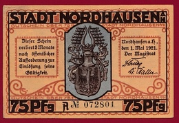 Allemagne 1 Notgeld 75 Pfenning  Stadt  Nordhausen (RARE ) Dans L 'état Lot N °4509 - Verzamelingen