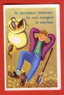 ÉTIQUETTE DE BOITE D'ALLUMETTES - PROVERBES - AU PARESSEUX LABOUREUR   LES RATS MANGENT LE MEILLEUR - Boites D'allumettes - Etiquettes