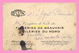 CARTE DE VISITE Des TUILERIES DE BEAUVAIS TUILERIES DU NORD à Beauvais Et à Marcq En Baroeul - Visiting Cards
