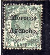 MAROC MAROCCO MOROCCO AGENCIES 1903 1905 KING EDWARD RE EDOARDO CENT. 5c USATO USED OBLITERE' - Uffici In Marocco / Tangeri (…-1958)