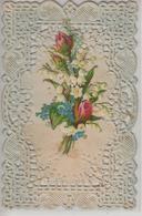 CPA Fantaisie Carte Finement Ajourée Avec Chromo : Bouquet De Muguet Et Boutons De Rose - Fantaisies