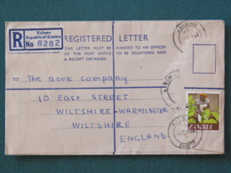 Zambia 1968 Registered Cover To England - Tobacco Harvest - Zambie (1965-...)